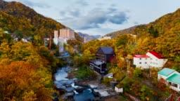 4K Time-Lapse Jozankei Onsen town skyline in autumn, Hokkaido, Japan