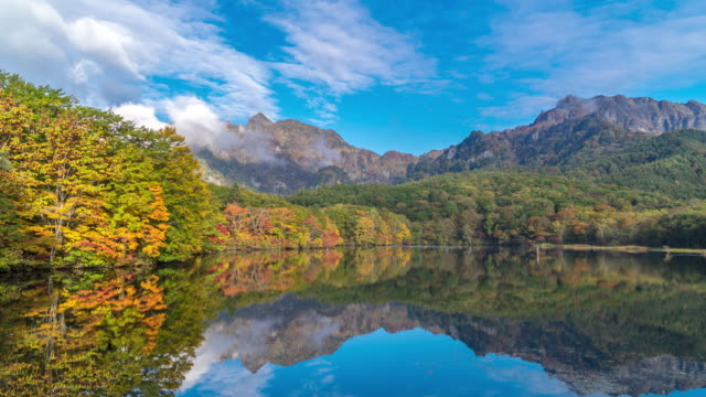 time-lapse: kagamiike pond with autumn red leave morning, nagano japan - nagano prefecture stock videos and b-roll footage