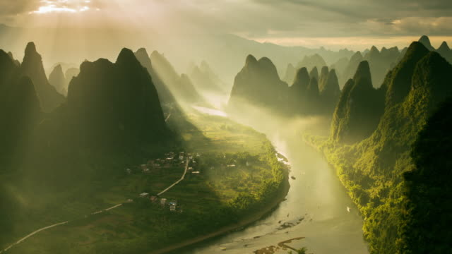 Timelapse karst formations and Li River in China