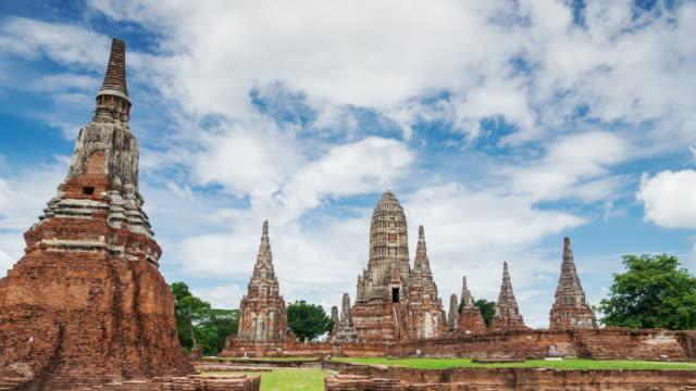Timelapse landmark old temple wat Chaiwatthanaram of Ayutthaya Province