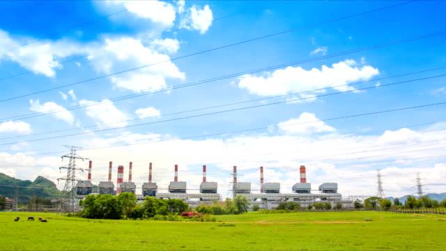 Zeitraffer Landschaft mit Kohle Kraftwerken