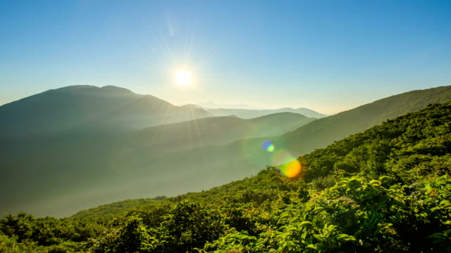 time-lapse landscape of mt chirisan national park (famous travel destinations in south korea) on sunny day - idyllic stock videos & royalty-free footage