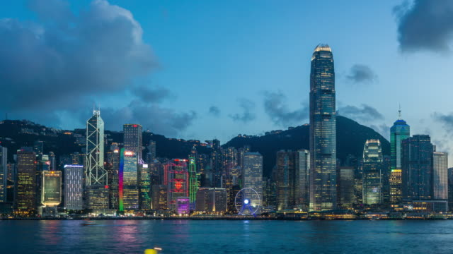 4K time-lapse : Lighting show at Victoria Harbor, Hong Kong