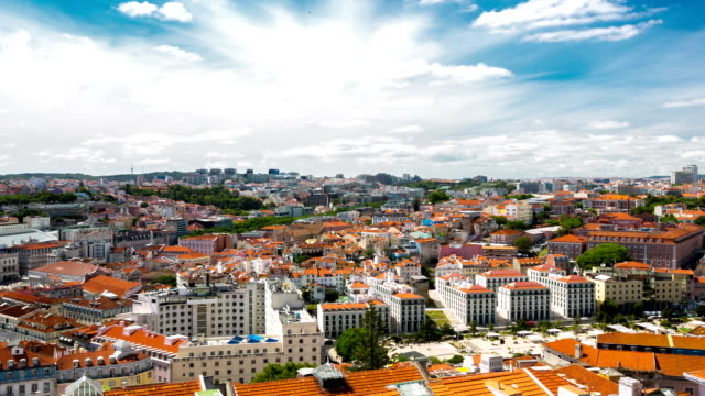 HD Time-lapse: Lisbon aerial view Portugal