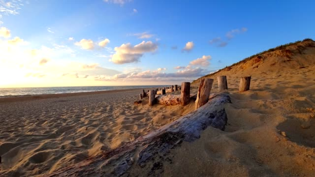 time-lapse: lit-et-mixe beach, sunset - aquitaine stock videos and b-roll footage