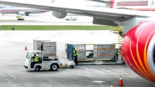 HD Time-lapse: Loading cargo for air freight logistic background