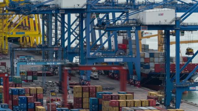 4K Time-lapse: Loading cargo freight ship