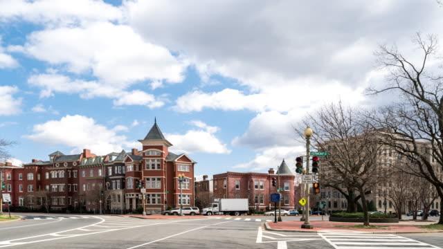 time-lapse: logan circle washington dc downtown usa - logan circle stock videos & royalty-free footage