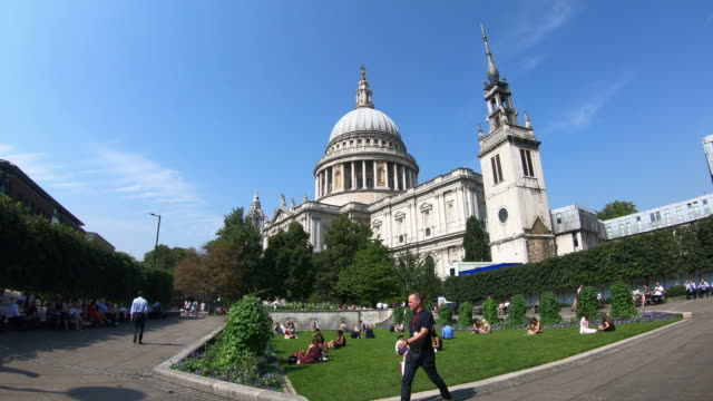 timelapse london city with st.paul's cathedral, uk - famous place stock videos & royalty-free footage