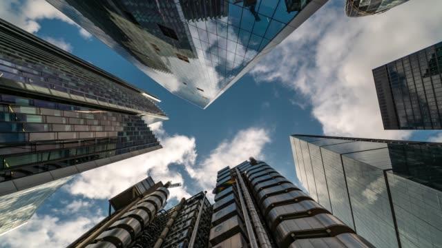 time-lapse: london cityscape office skyscraper background - skyscraper stock videos & royalty-free footage
