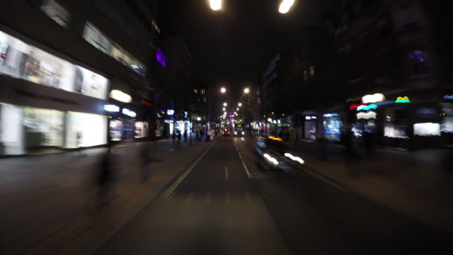 timelapse: london streets at night - tottenham court road stock videos & royalty-free footage