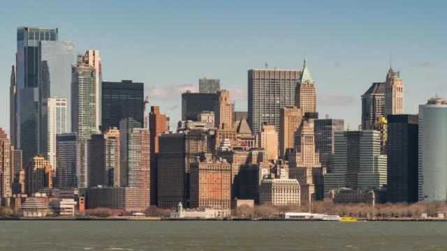 timelapse: lower manhattan battery park with hudson bay, new york city - new york city skyline stock videos & royalty-free footage