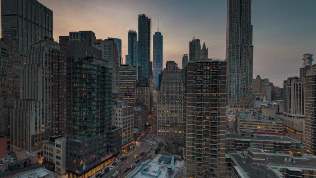 vídeos de stock, filmes e b-roll de timelapse, lower manhattan, new york, - distrito financeiro de manhattan