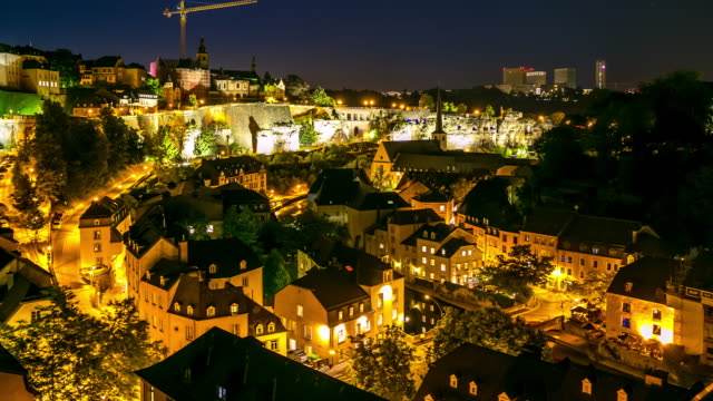 4k time-lapse: luxembourg city old town cityscape at dusk - luxembourg benelux stock videos & royalty-free footage