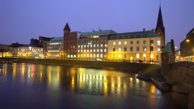 Time-lapse Malmo Cityscape downtown at night twilight in Sweden