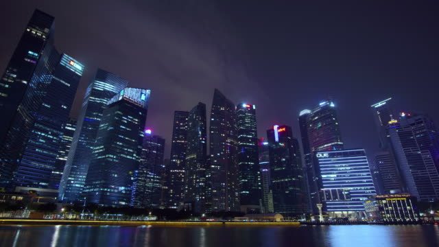 timelapse marina bay singapore cityscape - river singapore stock videos & royalty-free footage