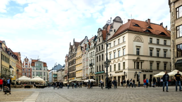 Timelapse: market square in summer weekend, Wroclaw, Poland
