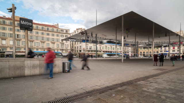 Time-lapse: Marseille crowded at old Vieux Port metro station