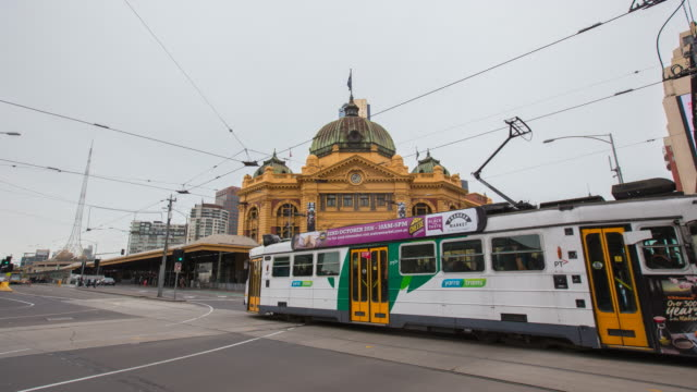 time-lapse Melbourne City Victoria Australia - Flinders Street station Establishing shot of Melbourne City Victoria Australia
