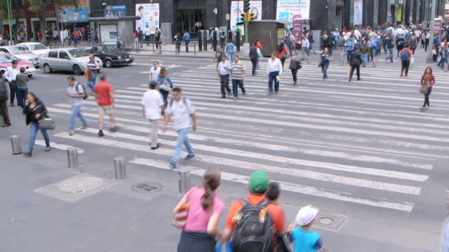 timelapse mexico city people walking across busy pedestrian crossing - urban road stock videos & royalty-free footage