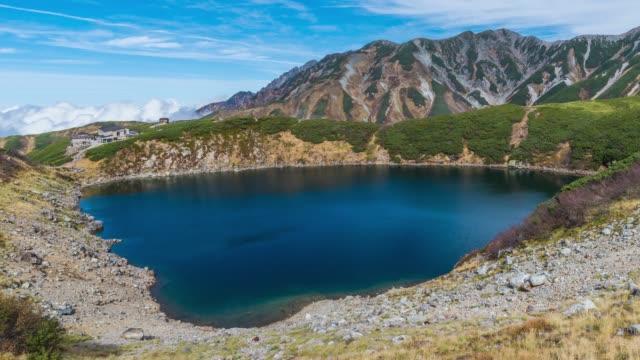 timelapse: mikurigaike pond and murodo plateau in tateyama kurobe alpine route, toyama, japan - toyama prefecture stock videos and b-roll footage