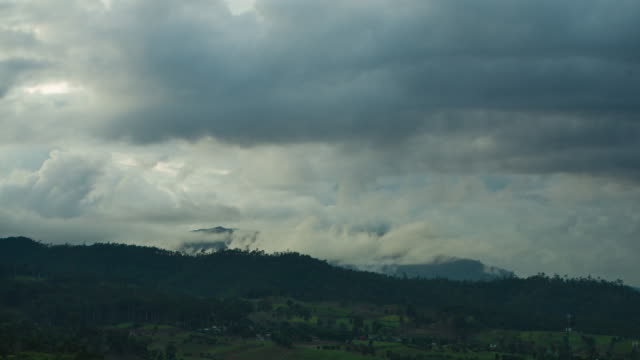 4 K タイムラプス: 夜の山の森の霧。