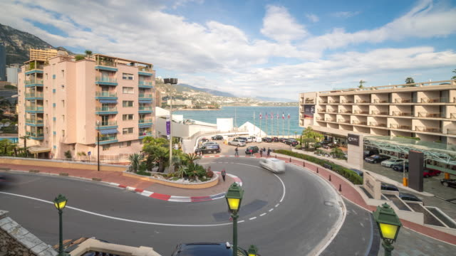 time-lapse: monaco grand prix famous curve track - monaco stock videos and b-roll footage