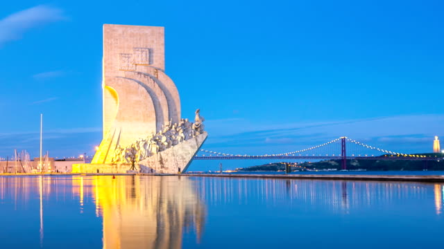 hd time-lapse: monument to the discoveries lisbon portugal - portuguese culture stock videos & royalty-free footage