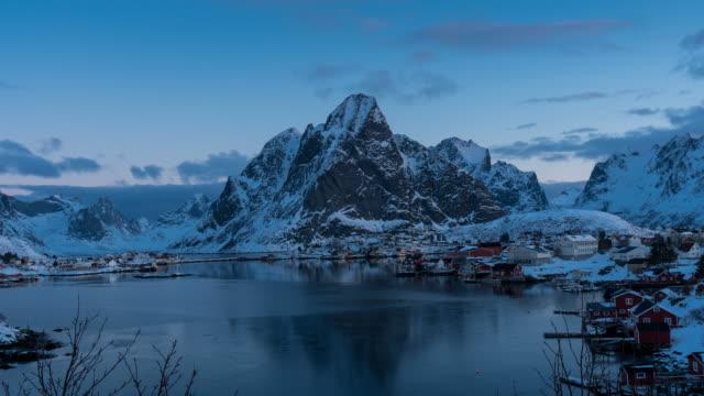 timelapse morning at reine village in winter, lofoten islands.norway - nordland county stock videos & royalty-free footage