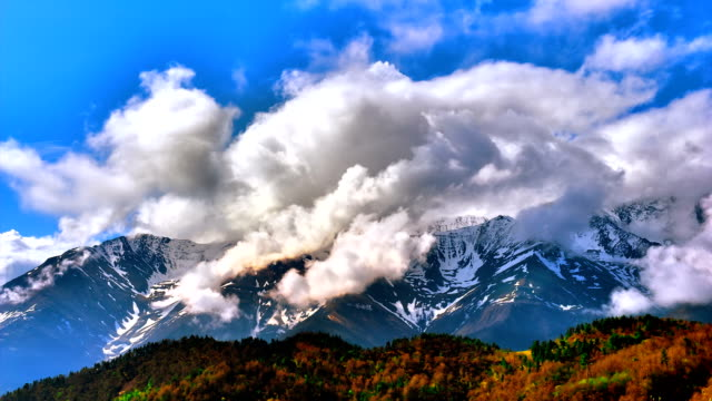 "stockvideo's en b-roll-footage met ""timelapse"": mountain cloudy blue sky - duurzaam toerisme"