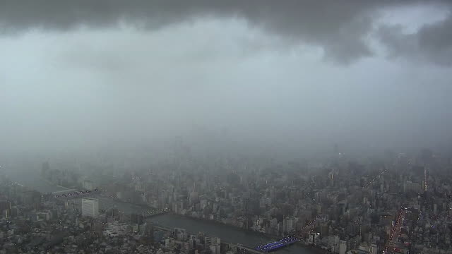 timelapse; movement of rain cloud, tokyo, japan - torrential rain stock videos and b-roll footage