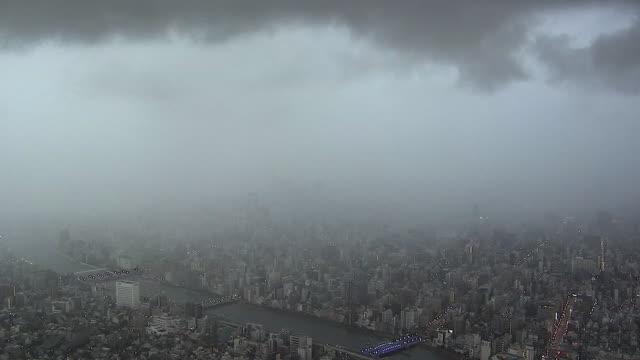 Timelapse; Movement Of Rain Cloud, Tokyo, Japan