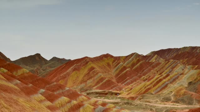 Timelapse Movie of Moving Cloud at  Zhangye Danxia National Geopark, Gansu, China. Colorful landscape of rainbow mountains