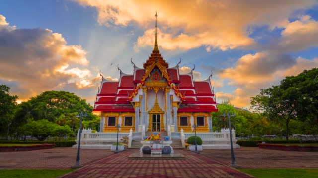 4k timelapse movie of thai temple in sunset scene, songkhla, thailand - bangkok stock videos & royalty-free footage