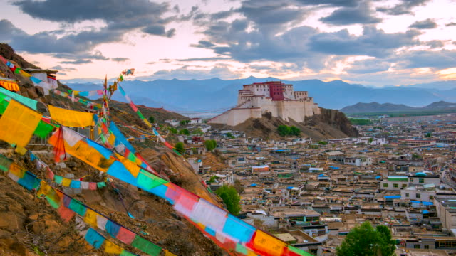 4K Zeitraffer Film Sunrise Szene von Shigatse Kloster, Shigatse, Tibet, China