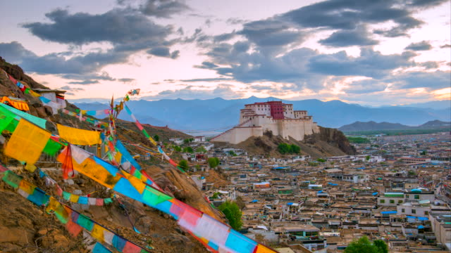 4K Timelapse Movie Sunrise Scene of Shigatse Monastery, Shigatse, Tibet, China