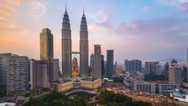 Timelapse Movie Sunset of Petronas towers, Kuala Lumpur, Malaysia