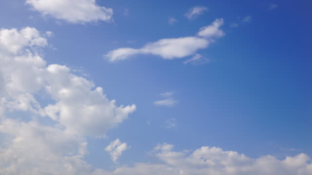Time-lapse, Moving clouds above blue sky