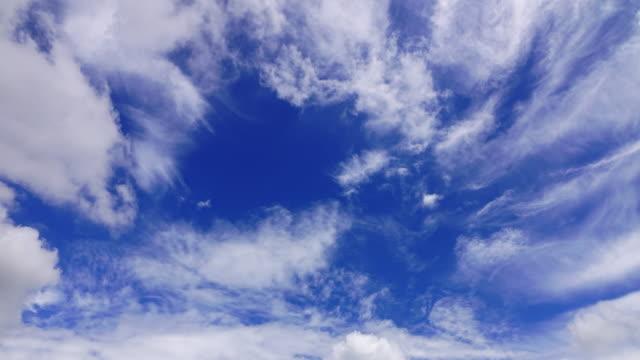 Time-lapse, movimiento nubes arriba cielo azul claro
