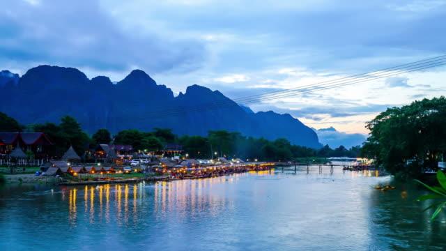timelapse Nam nummer River, Vang Vieng, Laos