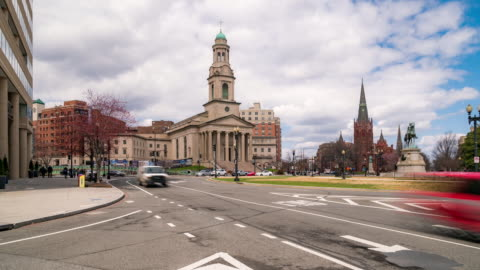 time-lapse: national city christian church in washington dc downtown usa - traffic circle stock videos & royalty-free footage