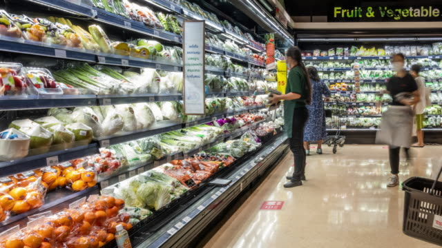 time-lapse new normal super market with customer wear face mask and face shield. - groceries stock videos & royalty-free footage