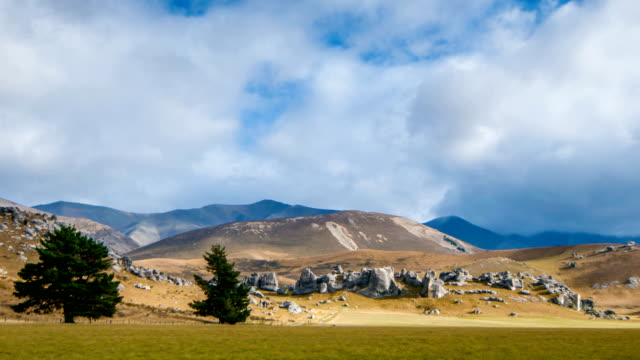 timelapse new zealand the castle hill. - zoom out stock videos and b-roll footage
