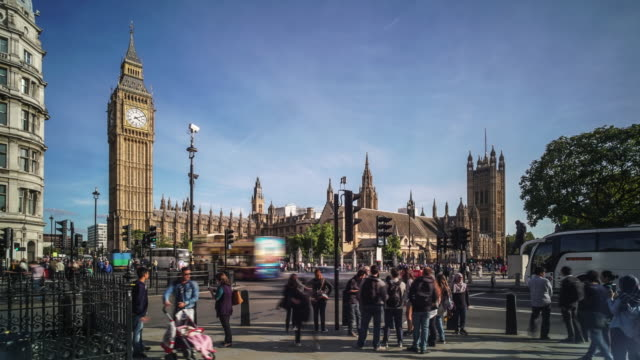 time-lapse next to the houses of parliament london - city break stock videos & royalty-free footage