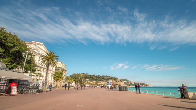 Time-lapse: Nice Opera house along beach French Riviera France