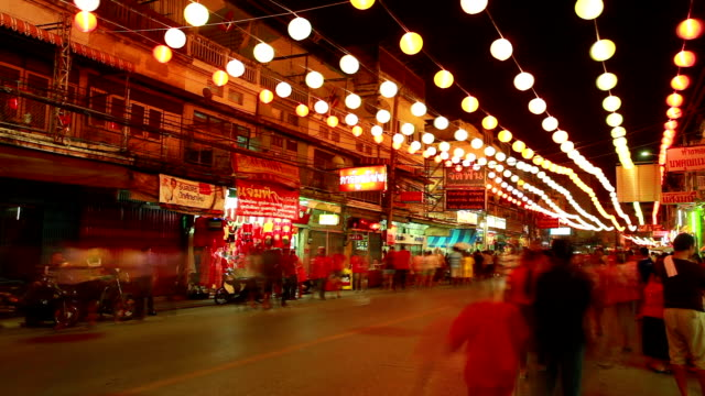 HD time-lapse: Night crowd Pedestrian in Nakronsawan China Town