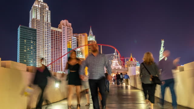 Time-lapse Night Crowd Pedestrians tourist at Las Vegas Strip boulevard in Las Vegas Nevada USA