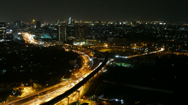 Timelapse night of Bangkok city