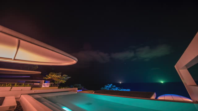 time-lapse night scenery of illuminating pool villa in thailand - infinity pool stock videos & royalty-free footage