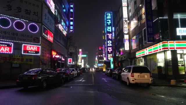 timelapse - Night street in South Korea